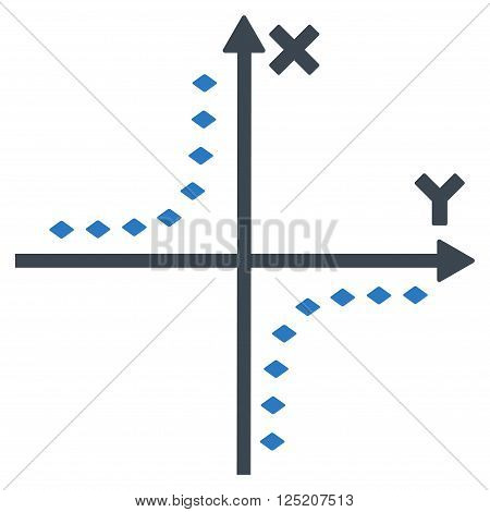 Dotted Hyperbola Plot vector toolbar icon. Style is bicolor flat icon symbol, smooth blue colors, white background, rhombus dots.