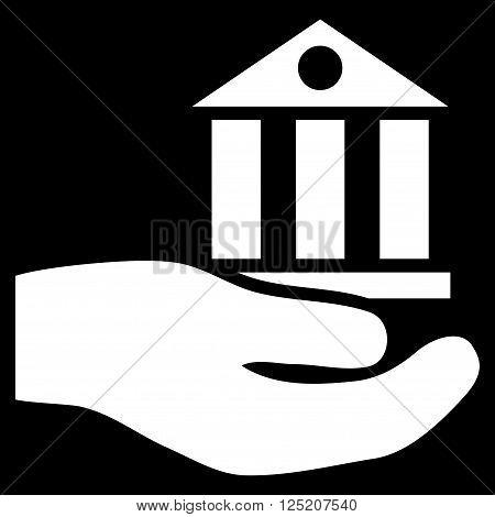 Bank Service vector icon. Bank Service icon symbol. Bank Service icon image. Bank Service icon picture. Bank Service pictogram. Flat white bank service icon. Isolated bank service icon graphic.