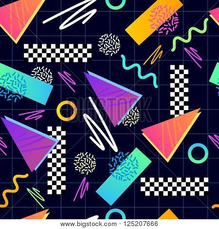 Eighties Seamless Pattern Vector. Classic 1980s seamless grid pattern. Vector illustration.