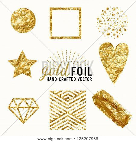 Vector Gold Foil Effect Set. A collection of gold foil items including gold dust gold foil wrap gold dots and patterns. Vector illustration.
