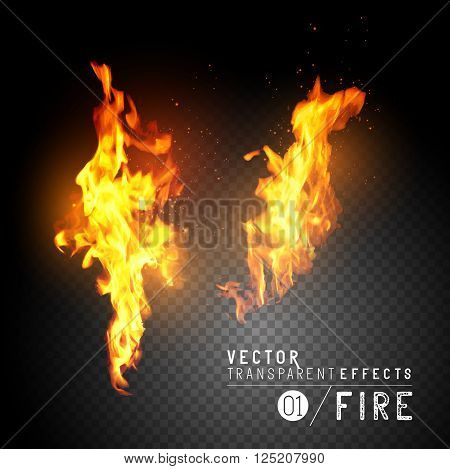 Realistic Vector Fire Flames. Transparent vector effects. Flames with sparks. Vector illustration.