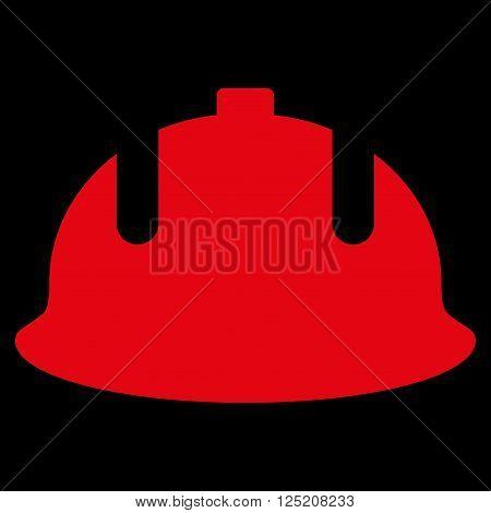 Construction Helmet vector icon. Construction Helmet icon symbol. Construction Helmet icon image. Construction Helmet icon picture. Construction Helmet pictogram. Flat red construction helmet icon.