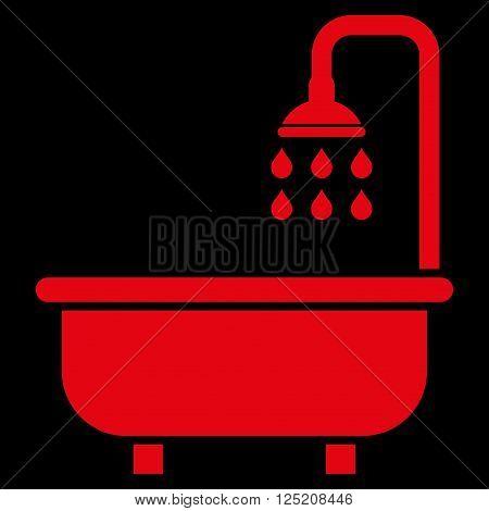Shower Bath vector icon. Shower Bath icon symbol. Shower Bath icon image. Shower Bath icon picture. Shower Bath pictogram. Flat red shower bath icon. Isolated shower bath icon graphic.