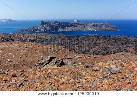 View of Palea Kameni island from volcano in Nea Kameni near Santorini, Cyclades, Greece