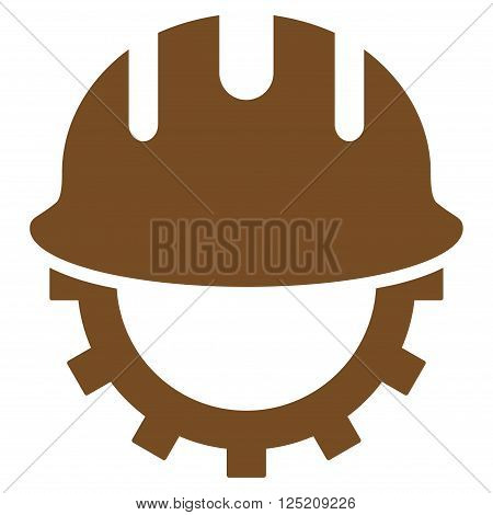 Development Hardhat vector icon. Development Hardhat icon symbol. Development Hardhat icon image. Development Hardhat icon picture. Development Hardhat pictogram. Flat brown development hardhat icon.
