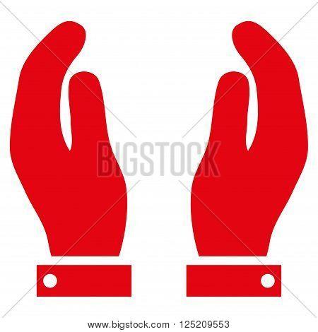 Care Hands vector icon. Care Hands icon symbol. Care Hands icon image. Care Hands icon picture. Care Hands pictogram. Flat red care hands icon. Isolated care hands icon graphic.