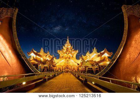 Karaweik palace at night with milky way, Yangon Myanmar
