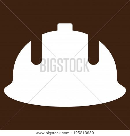 Construction Helmet vector icon. Construction Helmet icon symbol. Construction Helmet icon image. Construction Helmet icon picture. Construction Helmet pictogram. Flat white construction helmet icon.