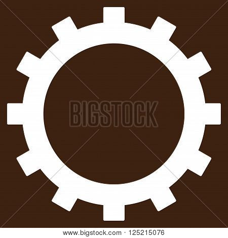 Gear vector icon. Gear icon symbol. Gear icon image. Gear icon picture. Gear pictogram. Flat white gear icon. Isolated gear icon graphic. Gear icon illustration.