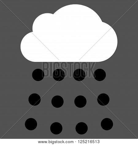 Rain Cloud vector icon. Rain Cloud icon symbol. Rain Cloud icon image. Rain Cloud icon picture. Rain Cloud pictogram. Flat black and white rain cloud icon. Isolated rain cloud icon graphic.