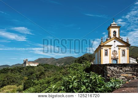 View of the unesco world heritage city of Ouro Preto with Church San Francisco de Paula Minas Gerais Brazil ** Note: Soft Focus at 100%, best at smaller sizes