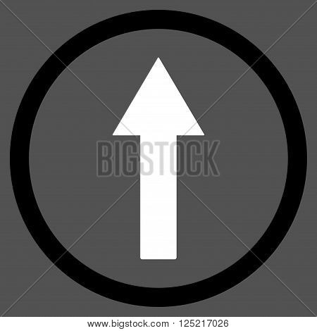 Up Rounded Arrow vector icon. Up Rounded Arrow icon symbol. Up Rounded Arrow icon image. Up Rounded Arrow icon picture. Up Rounded Arrow pictogram. Flat black and white up rounded arrow icon.