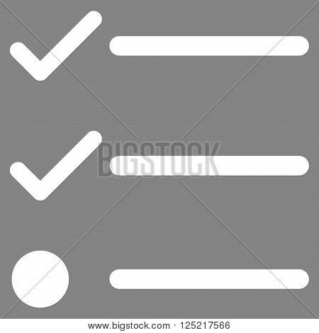 Checklist vector icon. Checklist icon symbol. Checklist icon image. Checklist icon picture. Checklist pictogram. Flat white checklist icon. Isolated checklist icon graphic.