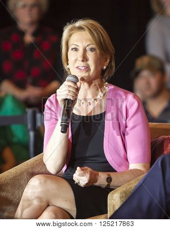 Madison Wisconsin USA - March 30 2016: Former Republican presidential candidate Carly Fiorina speaks during a free public forum on women's issues in Madison Wisconsin.