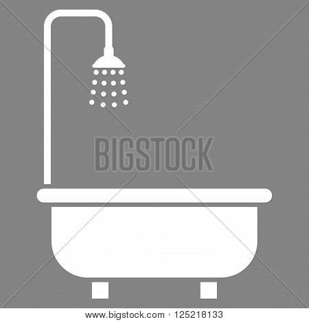 Shower Bath vector icon. Shower Bath icon symbol. Shower Bath icon image. Shower Bath icon picture. Shower Bath pictogram. Flat white shower bath icon. Isolated shower bath icon graphic.