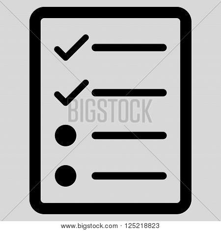 Checklist Page vector icon. Checklist Page icon symbol. Checklist Page icon image. Checklist Page icon picture. Checklist Page pictogram. Flat black checklist page icon.