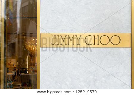 BEVERLY HILLS, CA/USA - APRIL 10, 2016: Jimmy Choo retail store exterior on famed Rodeo Drive.