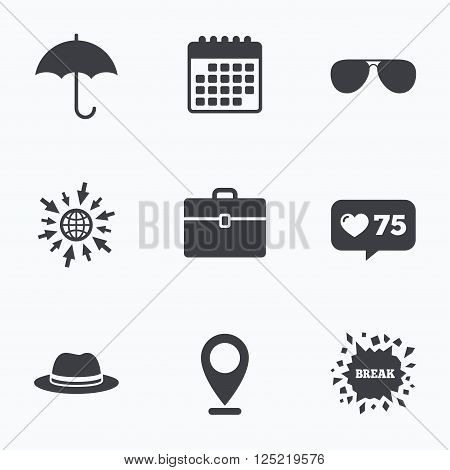 Calendar, like counter and go to web icons. Clothing accessories icons. Umbrella and sunglasses signs. Headdress hat with business case symbols. Location pointer.