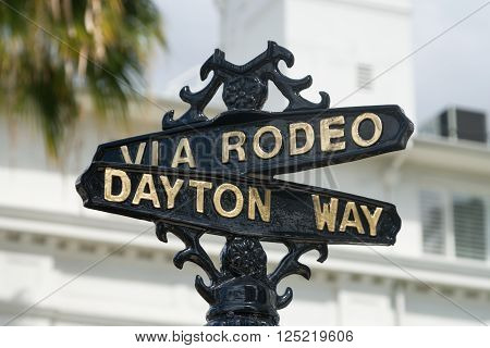 BEVERLY HILLS, CA/USA - APRIL 10, 2016: Via Rodeo street sign on famed Rodeo Drive.