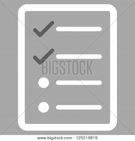 Checklist Page vector icon. Checklist Page icon symbol. Checklist Page icon image. Checklist Page icon picture. Checklist Page pictogram. Flat dark gray and white checklist page icon.