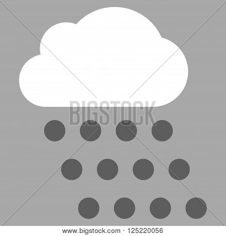 Rain Cloud vector icon. Rain Cloud icon symbol. Rain Cloud icon image. Rain Cloud icon picture. Rain Cloud pictogram. Flat dark gray and white rain cloud icon. Isolated rain cloud icon graphic.