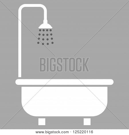Shower Bath vector icon. Shower Bath icon symbol. Shower Bath icon image. Shower Bath icon picture. Shower Bath pictogram. Flat dark gray and white shower bath icon. Isolated shower bath icon graphic.