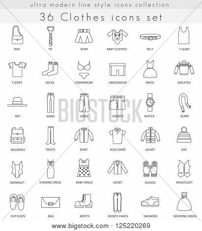 Vector Clothes and footwear ultra modern outline line icons for web and apps