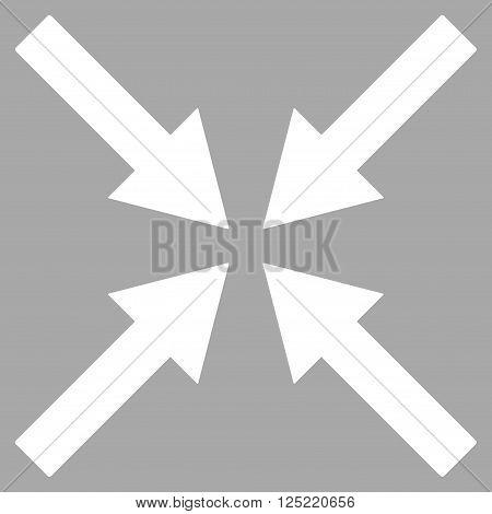 Center Arrows vector icon. Center Arrows icon symbol. Center Arrows icon image. Center Arrows icon picture. Center Arrows pictogram. Flat white center arrows icon.