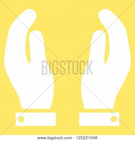 Care Hands vector icon. Care Hands icon symbol. Care Hands icon image. Care Hands icon picture. Care Hands pictogram. Flat white care hands icon. Isolated care hands icon graphic.