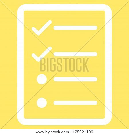 Checklist Page vector icon. Checklist Page icon symbol. Checklist Page icon image. Checklist Page icon picture. Checklist Page pictogram. Flat white checklist page icon.
