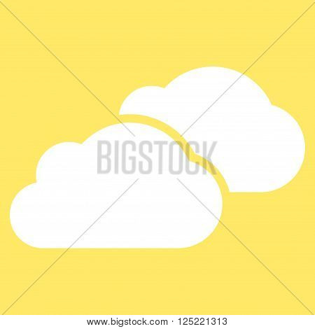 Clouds vector icon. Clouds icon symbol. Clouds icon image. Clouds icon picture. Clouds pictogram. Flat white clouds icon. Isolated clouds icon graphic. Clouds icon illustration.