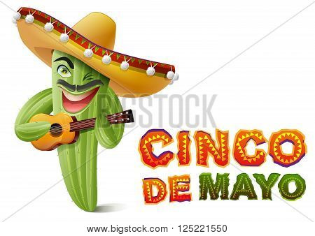 Cinco de Mayo. Mexican cactus in sombrero playing guitar. Greeting card template. Isolated on white vector illustration