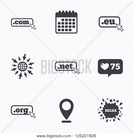 Calendar, like counter and go to web icons. Top-level internet domain icons. Com, Eu, Net and Org symbols with cursor pointer. Unique DNS names. Location pointer.