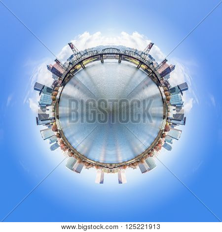 360 degree of cityscape and skyline in portland