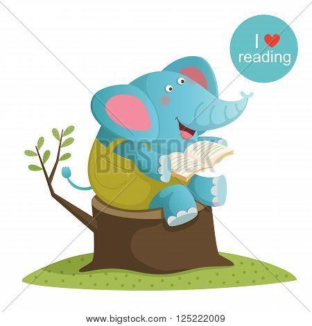 Vector illustration of cartoon elephant reading a book