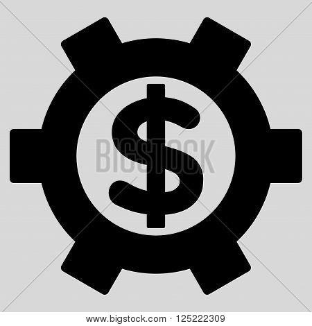 Financial Settings vector icon. Financial Settings icon symbol. Financial Settings icon image. Financial Settings icon picture. Financial Settings pictogram. Flat black financial settings icon.