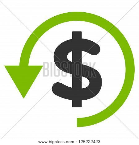 Chargeback vector icon. Chargeback icon symbol. Chargeback icon image. Chargeback icon picture. Chargeback pictogram. Flat eco green and gray chargeback icon. Isolated chargeback icon graphic.