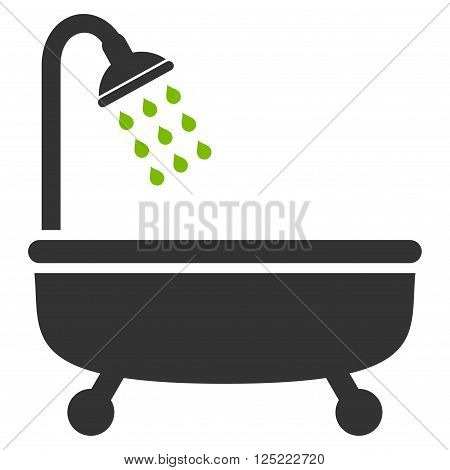 Shower Bath vector icon. Shower Bath icon symbol. Shower Bath icon image. Shower Bath icon picture. Shower Bath pictogram. Flat eco green and gray shower bath icon. Isolated shower bath icon graphic.