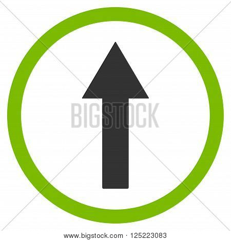 Up Rounded Arrow vector icon. Up Rounded Arrow icon symbol. Up Rounded Arrow icon image. Up Rounded Arrow icon picture. Up Rounded Arrow pictogram. Flat eco green and gray up rounded arrow icon.