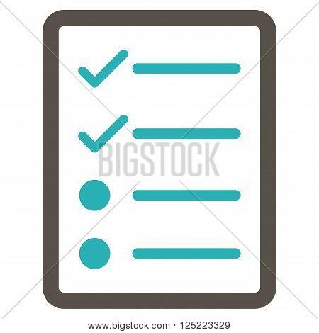 Checklist Page vector icon. Checklist Page icon symbol. Checklist Page icon image. Checklist Page icon picture. Checklist Page pictogram. Flat grey and cyan checklist page icon.