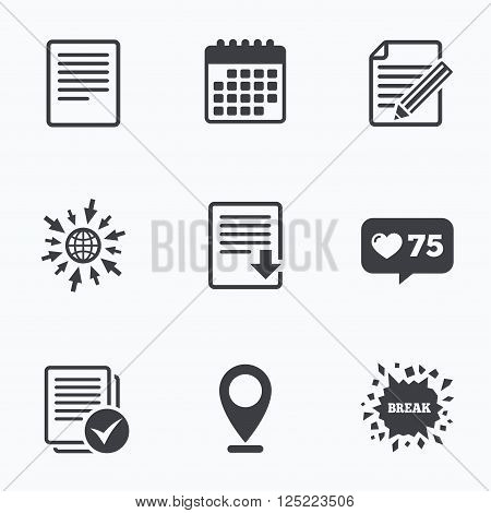 Calendar, like counter and go to web icons. File document icons. Download file symbol. Edit content with pencil sign. Select file with checkbox. Location pointer.