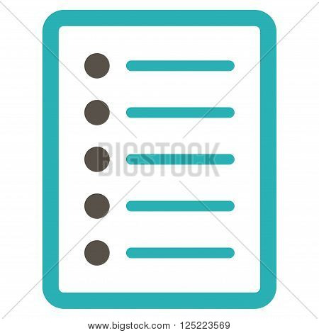 List Page vector icon. List Page icon symbol. List Page icon image. List Page icon picture. List Page pictogram. Flat grey and cyan list page icon. Isolated list page icon graphic.