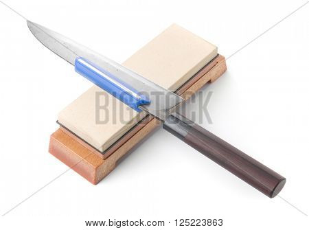 Traditional japanese kitchen knife and grinding water stone. Isolated on white. poster