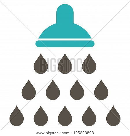 Shower vector icon. Shower icon symbol. Shower icon image. Shower icon picture. Shower pictogram. Flat grey and cyan shower icon. Isolated shower icon graphic. Shower icon illustration.