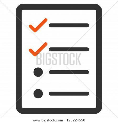 Checklist Page vector icon. Checklist Page icon symbol. Checklist Page icon image. Checklist Page icon picture. Checklist Page pictogram. Flat orange and gray checklist page icon.