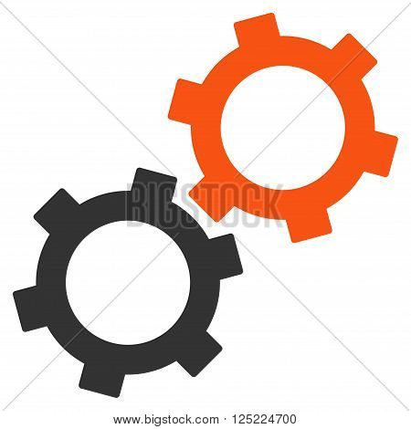 Gears vector icon. Gears icon symbol. Gears icon image. Gears icon picture. Gears pictogram. Flat orange and gray gears icon. Isolated gears icon graphic. Gears icon illustration.