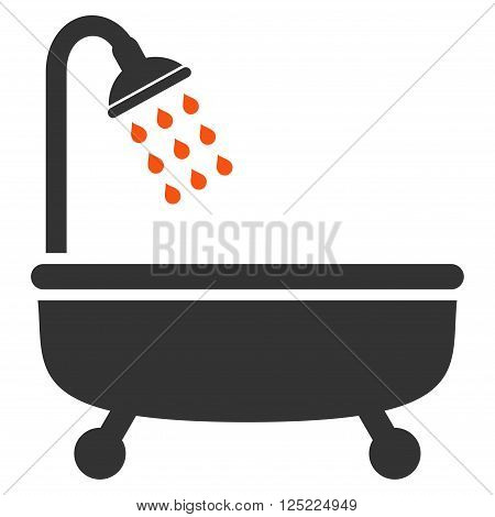 Shower Bath vector icon. Shower Bath icon symbol. Shower Bath icon image. Shower Bath icon picture. Shower Bath pictogram. Flat orange and gray shower bath icon. Isolated shower bath icon graphic.