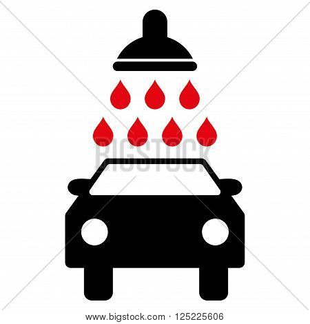 Car Wash vector icon. Car Wash icon symbol. Car Wash icon image. Car Wash icon picture. Car Wash pictogram. Flat intensive red and black car wash icon. Isolated car wash icon graphic.
