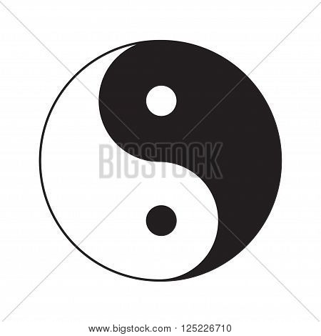 Yin Yang sign icon. White and black. Feng shui symbol. Isolated Flat design style. Vector illustration