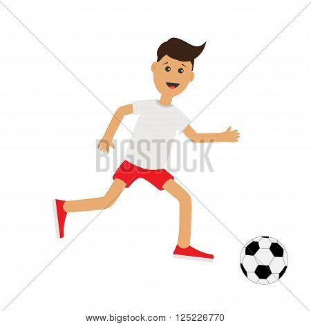 Funny cartoon running guy with soccer ball. Football player. Cute run boy Jogging man Runner Fitness workout running male character Isolated White background. Flat design Vector illustration